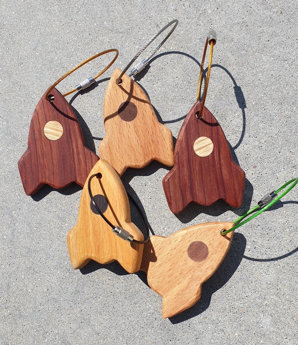 prd sleutelhangers ruimteschepen houtsoorten